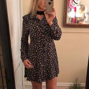 Black floral mini dress M